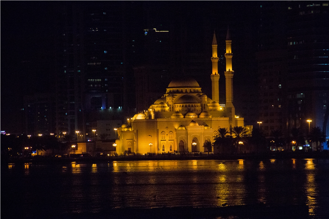 Night view of Khaled lagoon Al Noor Mosque Sharjah Dubai