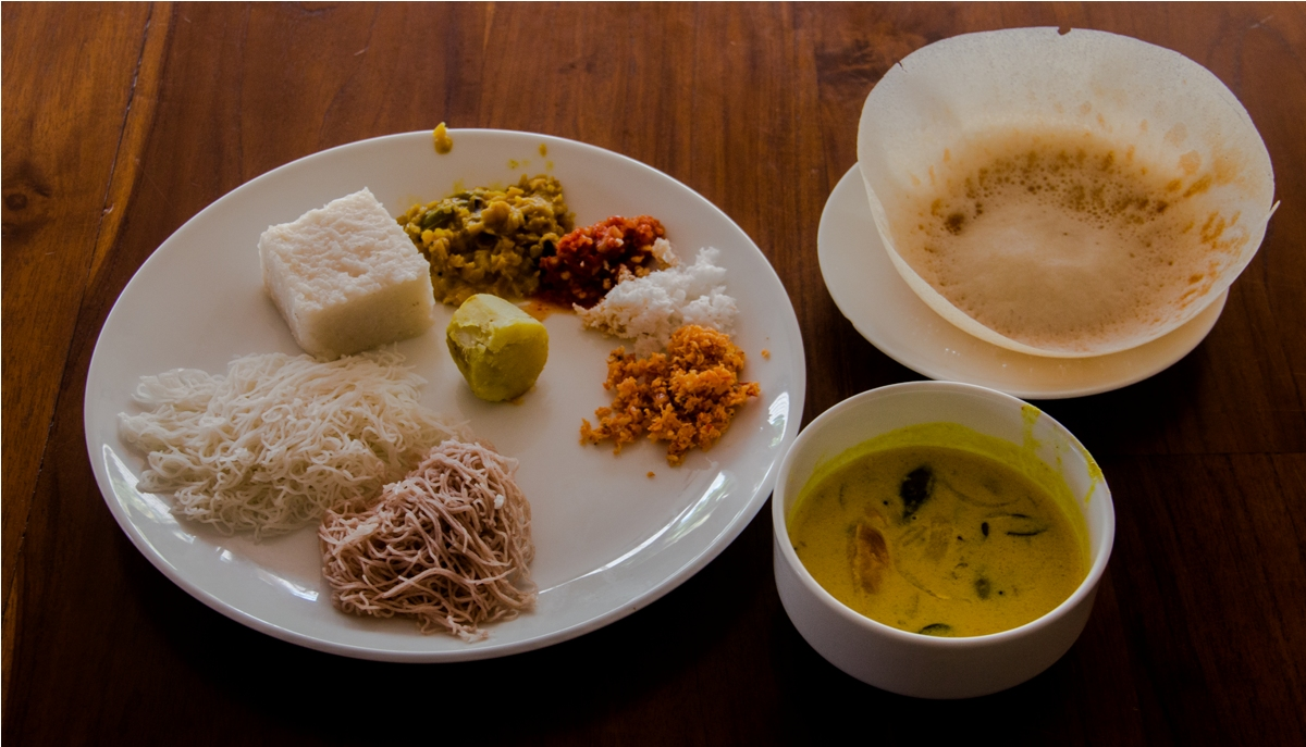Milk Rice aka kiribath, idiyappam aka styring hoppers, kiri hodi. India Sri Lanka Vegan Food
