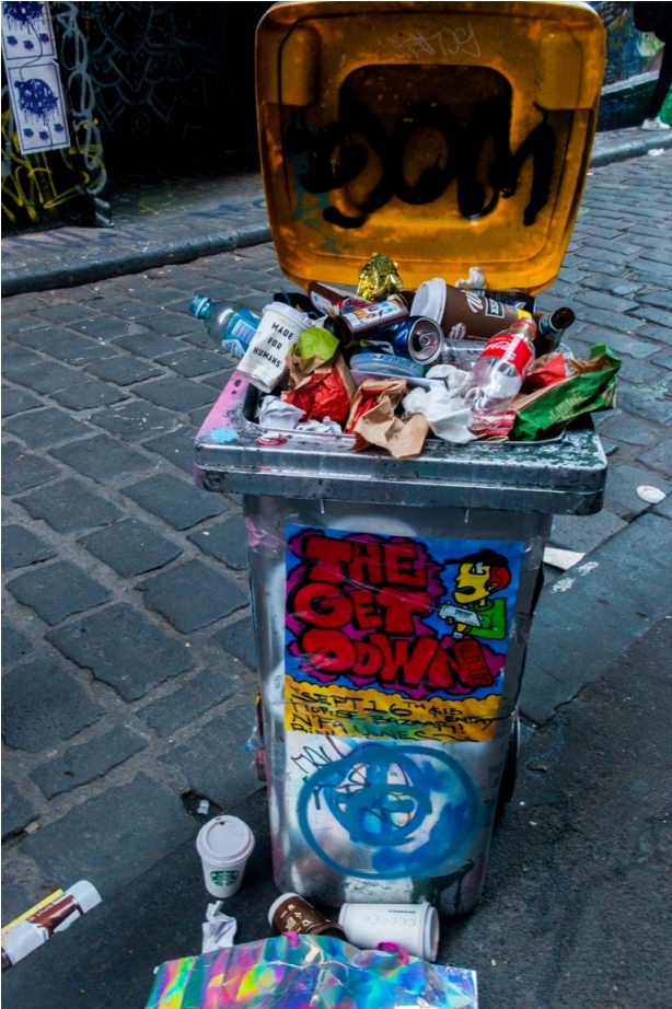 Dustbin Drugs Heroin Grafitti Street Art Hosier Lane Melbourne Australia (3)
