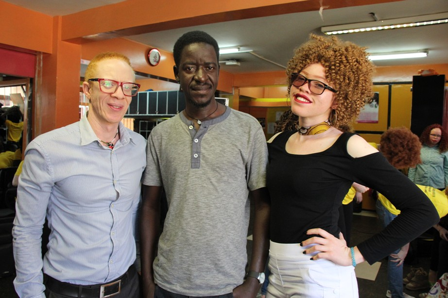 left is John Ngatia a model trainer and Louis Lihandha first Miss Albinism kenya while at Beauty point Nairobi