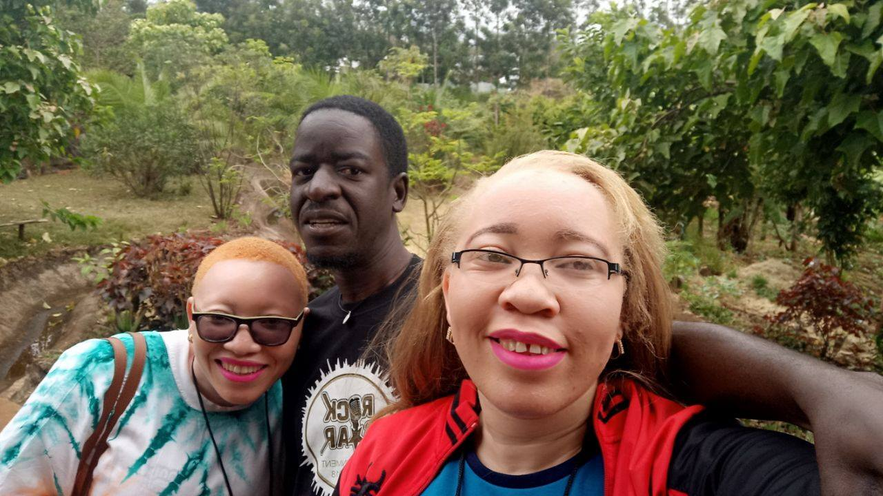 Liz Muthoni, pat robert larubi and Amina Adams during Aman for youth with Albinsm summit in Meru Kenya