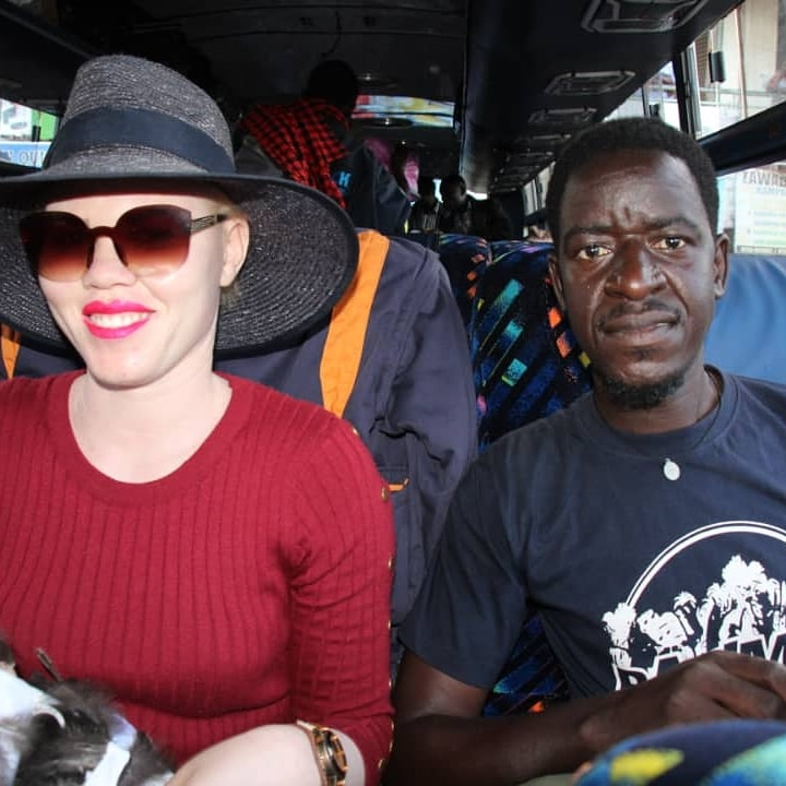 Olive Auma and Pat Robert larubi onboard with Dreamline Coaches heading to nairobi for the contest.