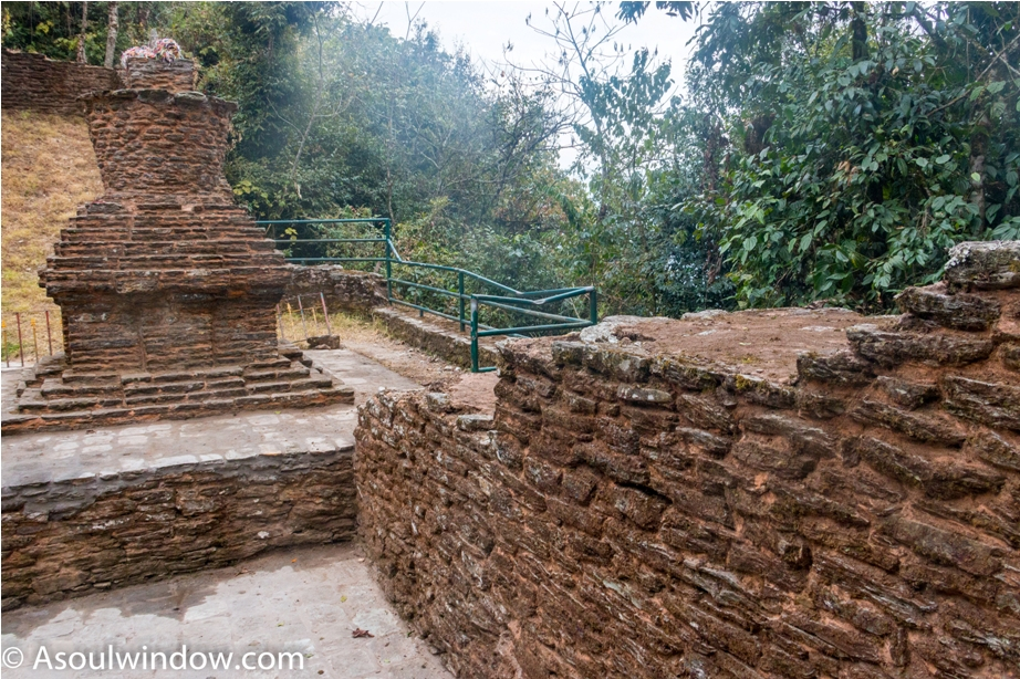 Ancient Buddhist Stupa at the entrance.  Rabdentse ruin site Pelling West Sikkim