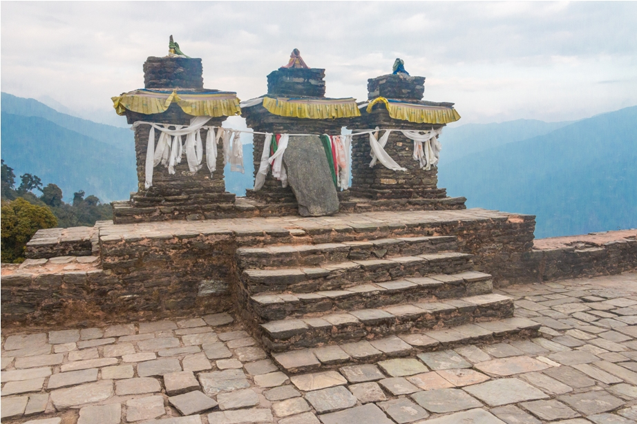 The three ancient chorten in Rabdentse site Pelling West Sikkim