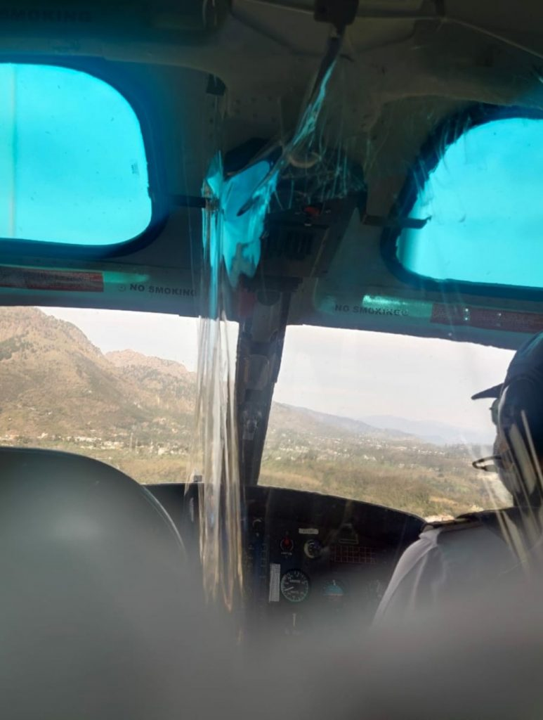 Inside the Helicopter with Pilot. Helicopter booking of Vaishno Devi from Katra in Jammu and Kashmir.